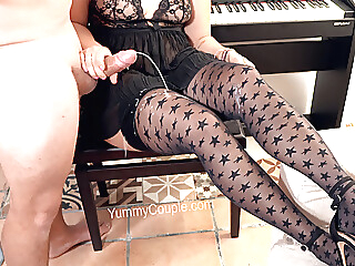 cumshot handjob stockings at YES PORN PLEASE
