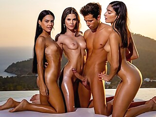brunette group sex outdoor at YES PORN PLEASE